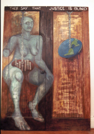 "Justice (Blind Side), 1994, Oil on wood doors, 6'5.5"" h x 4.5'w, Eleanor Ruckman  A double-sided, free-standing piece painted on hinged doors. They say that Justice is blind.  My Justice can see."