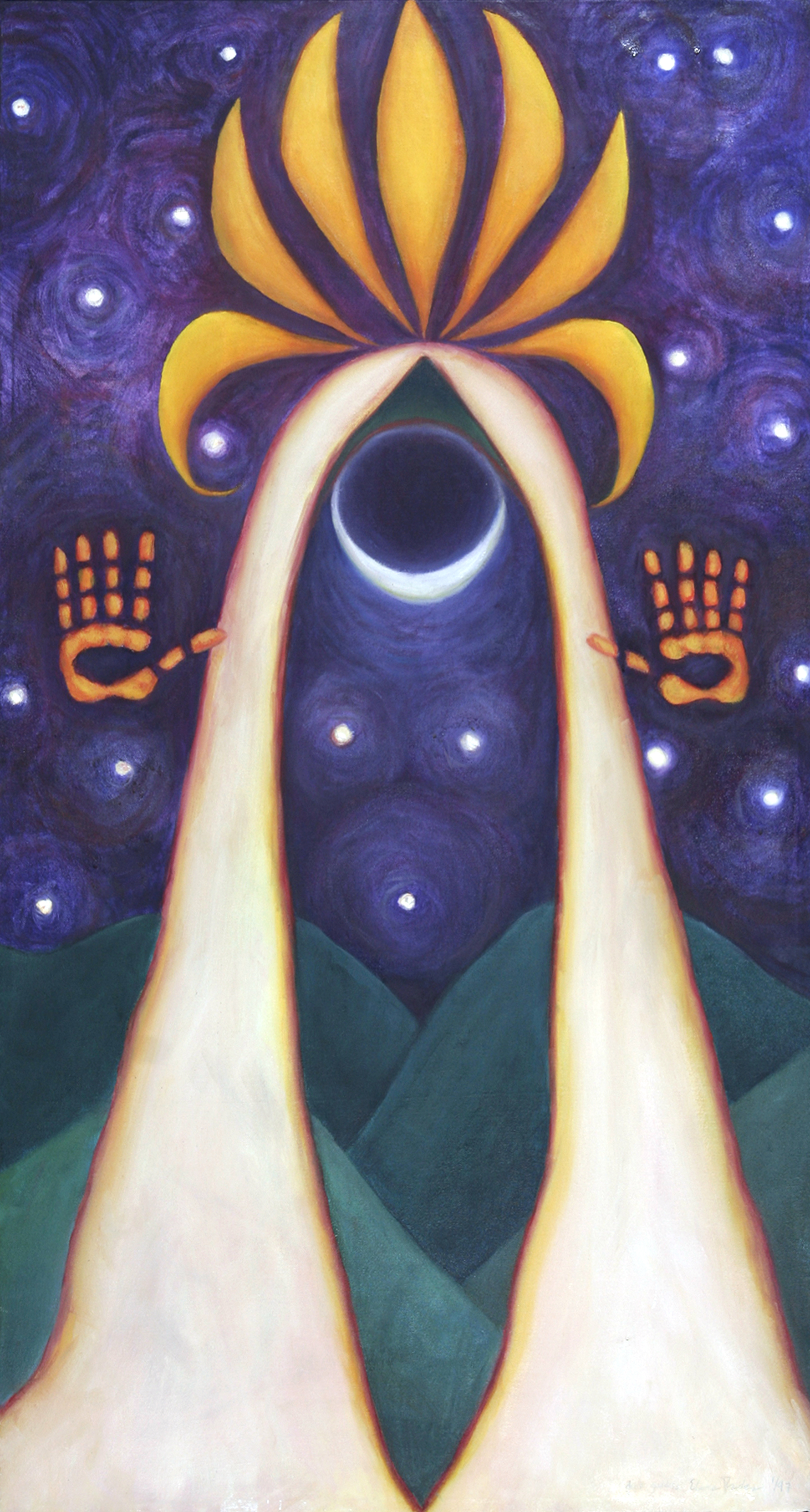 "Dark Goddess, 1996, Oil on canvas 46.5""h x 25w"", Private Collection, Eleanor Ruckman"