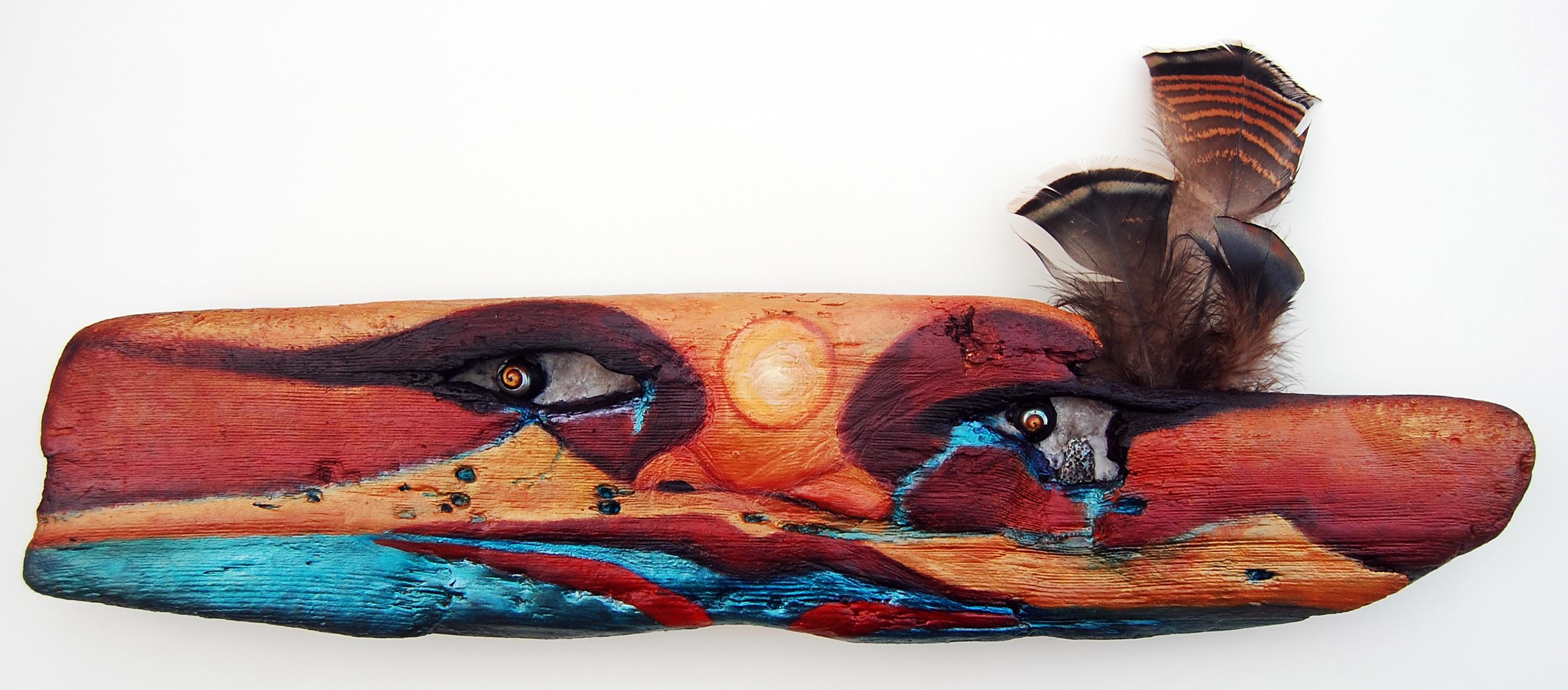 "Watershed (Ohlone Tears), 2012, Oil, shell, abalone, beeswax, driftwood, 9""h x 21""w, Eleanor Ruckman"